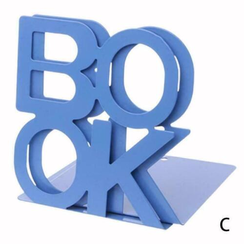Creative BOOK Letters Heavy Duty Metal 1 Pair Bookends Stationery Home Offi D4X9