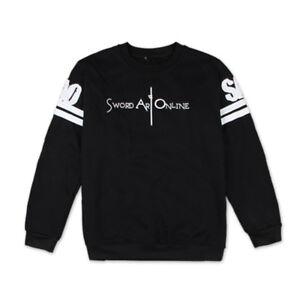 Striped Sword Art Online Hoodie Crew Neck Jersey Pullover Sweatshirt Tops Coat