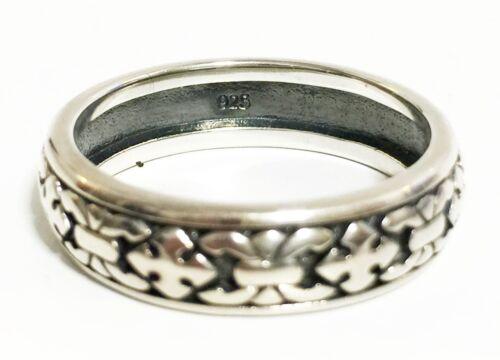 Scott Kay ARTISTE sz 13 Silver ~6g Engraved Fleur-De-Lis Cross 7mm Band Ring NEW