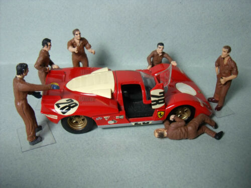 6  FIGURINES  1//43  SET 100  MECANOS  FERRARI  LE MANS  1970  VROOM  FOR  SPARK