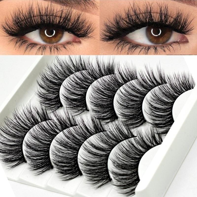 5Pair 3D Mink False Eyelashes Wispy Cross Long Thick Soft Fa
