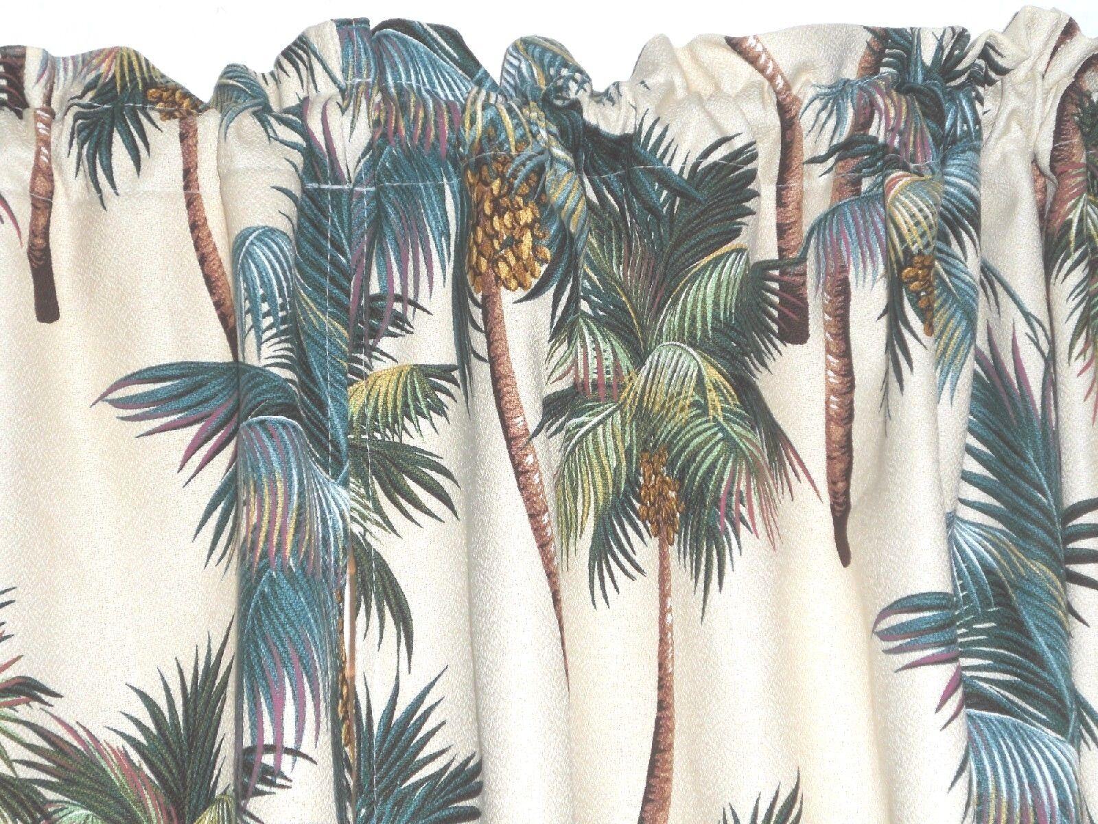 PAIR  36x27 Tropical Hawaiian Hawaiian Hawaiian Cotton Barkcloth Fabric CAFE' CURTAINS Palm Tree fe9a7b