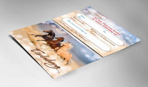 Einladungskarten Kindergeburtstag Pferde Fohlen Mädchen//schöne und bunte Karten