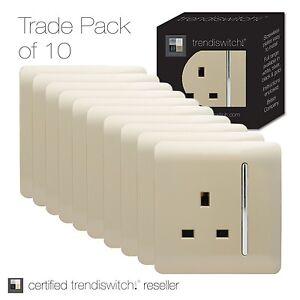 Trendi-1-Gang-Modern-Glossy-13-Amp-Switched-Plug-Socket-Gold-ART-SKT13-x-10