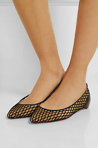 NIB-Louboutin-Pigaresille-Mesh-Leather-Ballerina-Ballet-Flat-Shoes-695-sz-39-IT