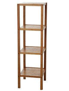 EISL Badezimmer Bambus Regal mit 4 Fächern Bambusfarbe 34 x 33 x 110 ...