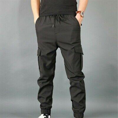 Hommes Pantalon Cargo Genou Poche Taille Élastique Sarouel Slim Décontracté
