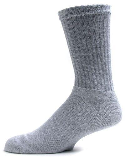 6 Pairs Big Mens 12-15 Shoe Size Gray Soft Cotton Blend Crew Socks  US Made