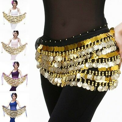 Newly Bellydance Costume Hip Scarf Skirt Belt Gold Coins Dancer Dancing Wrap