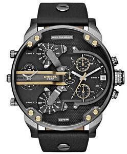 NEW-DIESEL-Mr-Daddy-2-0-Black-dial-Black-Leather-Chronograph-Men-039-s-Watch-DZ7348
