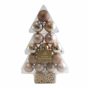 16 Piece Christmas Decoration Collection 50mm Baubles And Beads Rose Gold Ebay