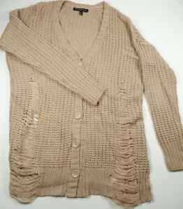 f590a25169f DEREK HEART Warm Taupe Distressed Thick Long Knit Cardigan Sweater ...