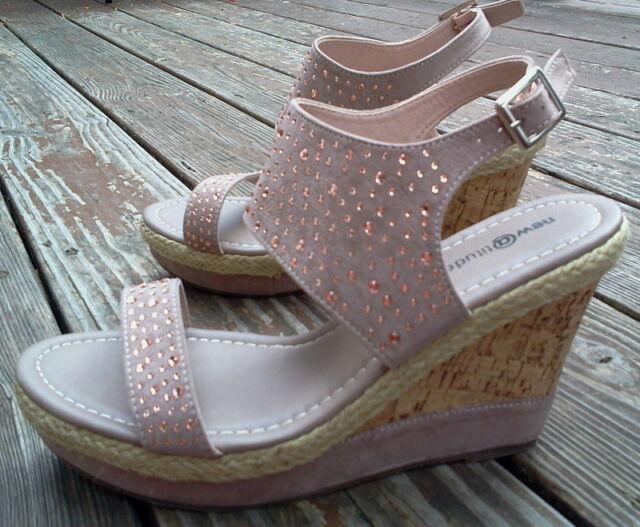 2892a6c5f7 Attitude Emmie Tan W/ Copper Crystal Studded Platform Wedge Sandals ...