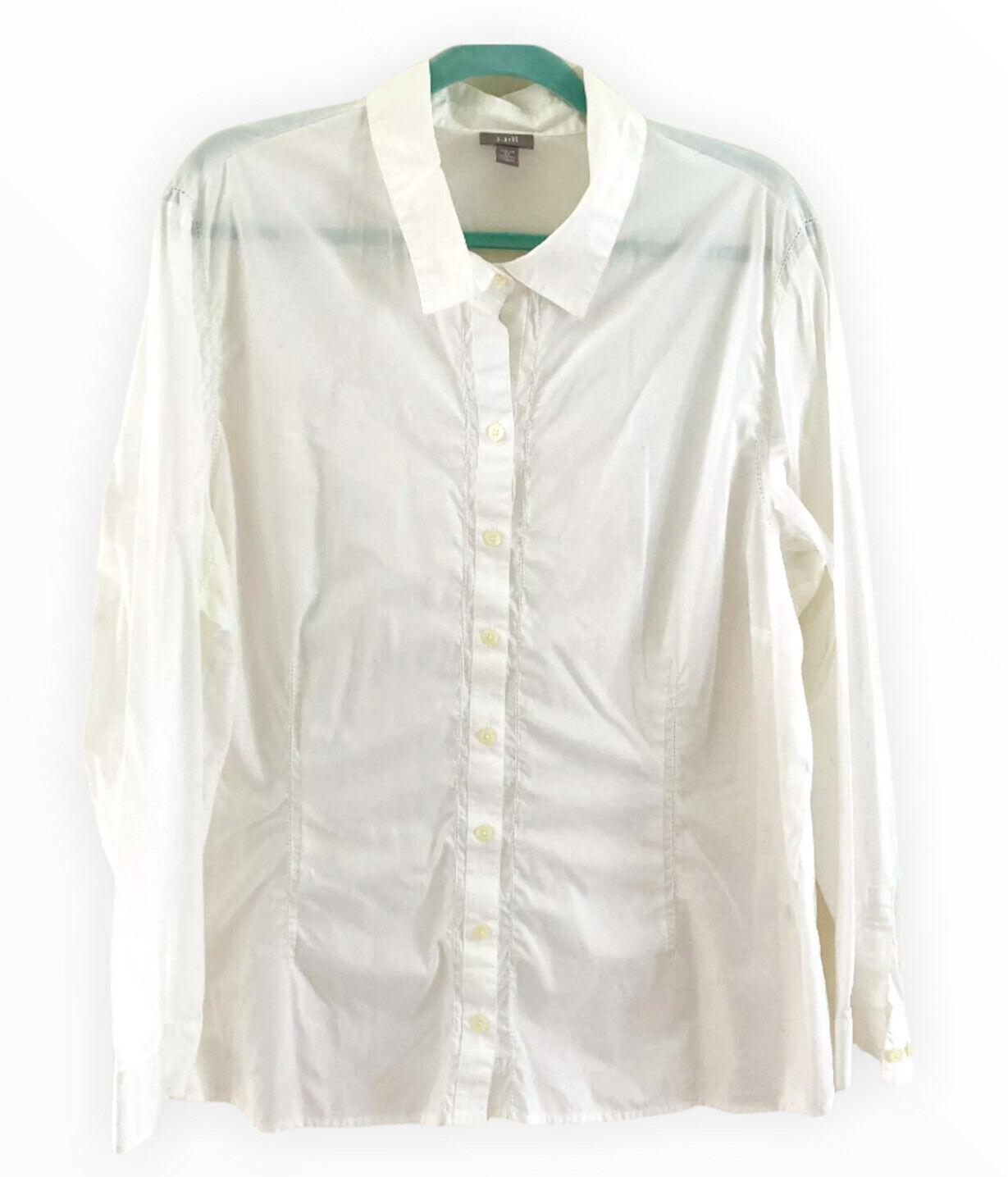 J.JILL Women's Blouse Top Eyelet Trim Cotton Blen… - image 1