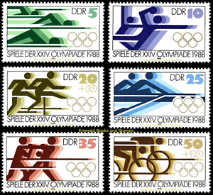 EBS-East-Germany-DDR-1988-Summer-Olympics-Seoul-Michel-3183-3188-MNH