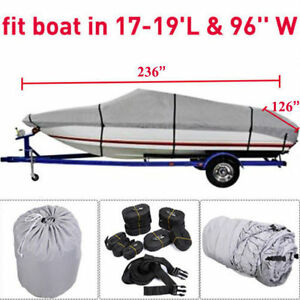 "17-19 Ft Waterproof Trailerable V-Hull Boat Cover 95"" Beam Heavy Duty Fabric EP!"