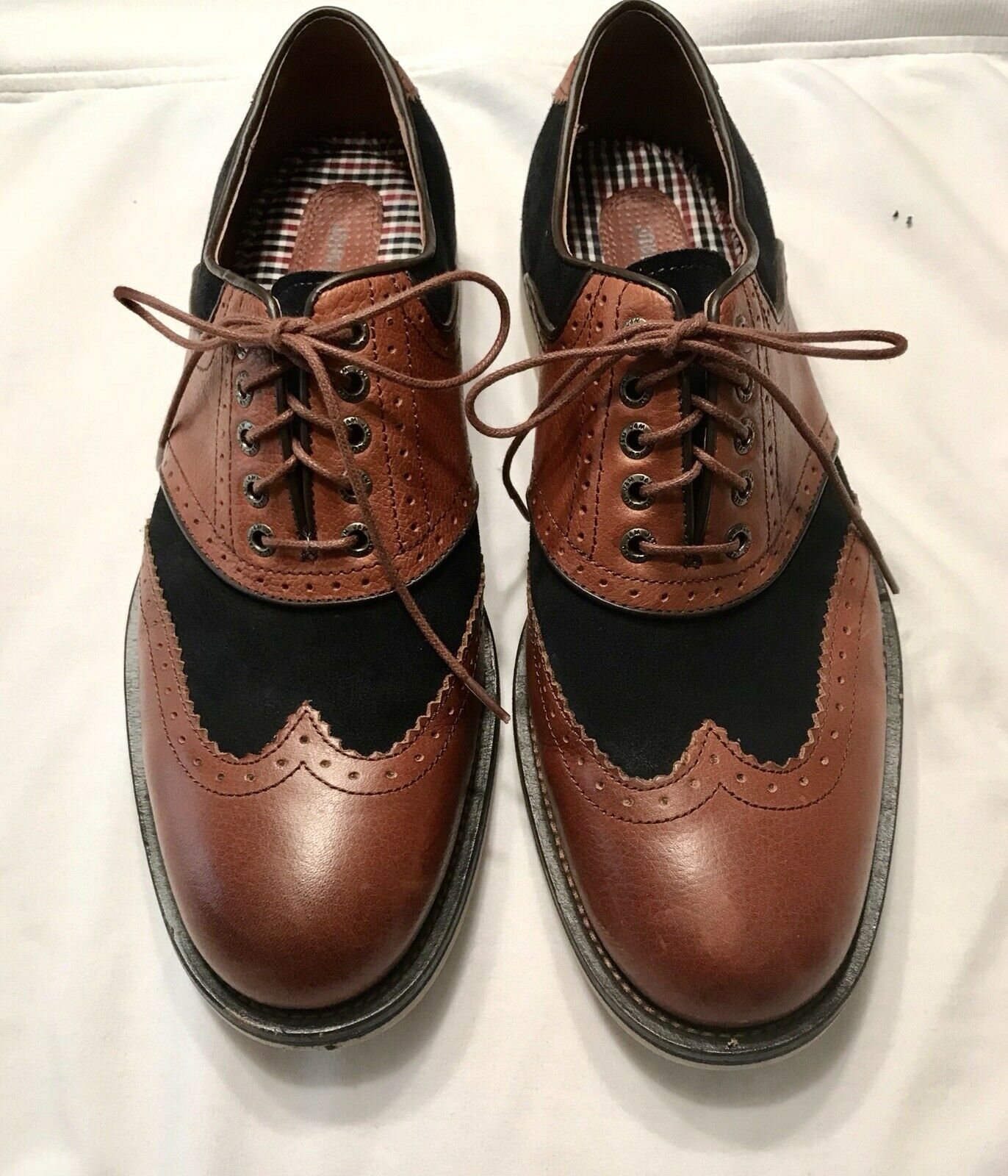 Johnston & Murphy Mens Navy Brown Flex System Wingtip Oxfords Shoes 9.5M Superb!