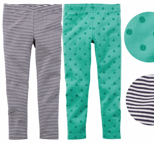 674c45b48ee6c Carter's toddler girl turquoise glitter doted striped full length leggings  2pc