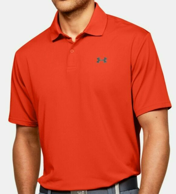 Under Armour Golf Shirt Mens Small Orange Quick Dry Stretch Short Sleeve Polo