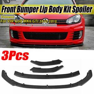 For-VW-Golf-MK6-GTI-2010-2013-Carbon-Black-Front-Bumper-Lip-Spoiler-Splitter