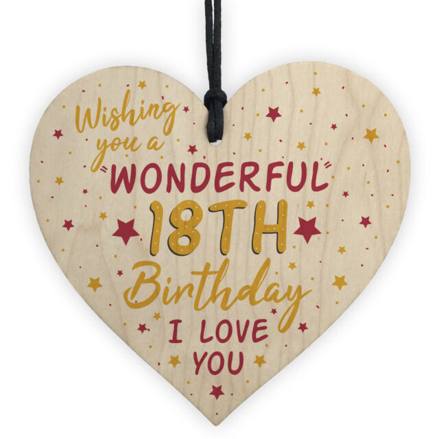 18th Birthday Wood Heart Card For Daughter Best Friend Sister Gift 18 Decoration Sale Online