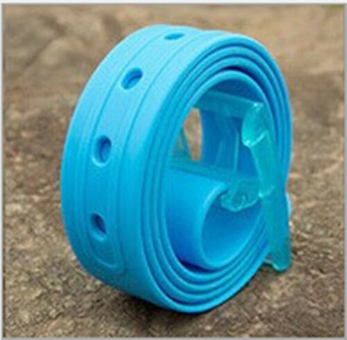 NEW Men/'s Plain Smooth Silicone Rubber Leather Belt Plastic Buckle PD020