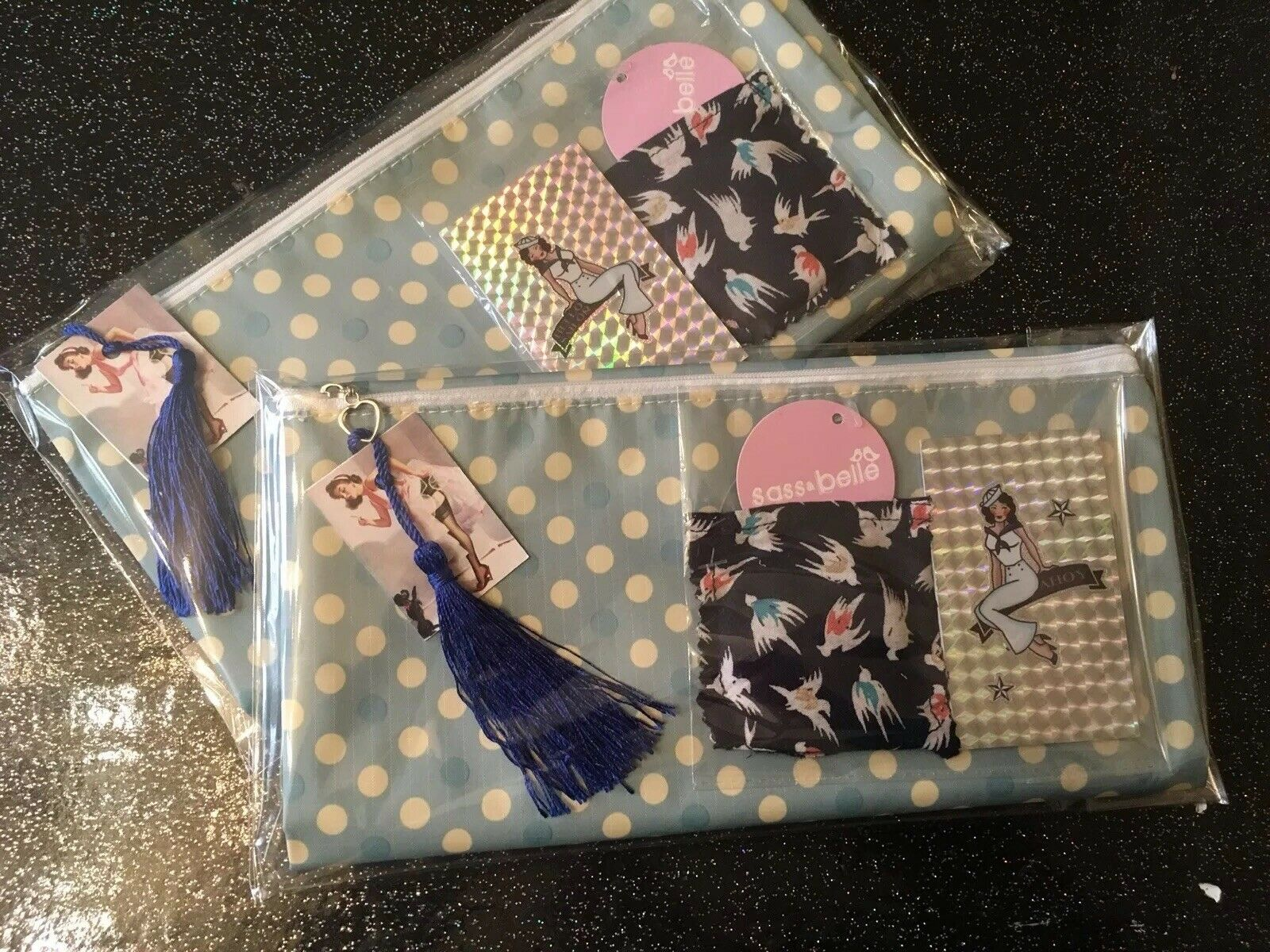 swallow compact mirror 50s pin up girl notebook +Toiletry Bag 3pc Rockabilly set