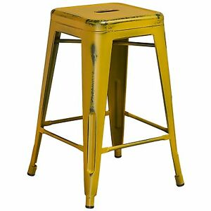 Fine Details About Tolix Style Industrial Metal Backless Counter Stool Distressed Antique Yellow Spiritservingveterans Wood Chair Design Ideas Spiritservingveteransorg