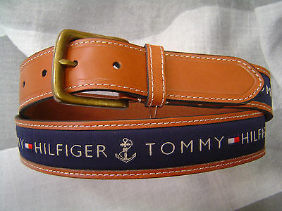TOMMY HILFIGER MEN/'S CASUAL BELT TAN WITH KHAKI COTTON LOGO INLAY