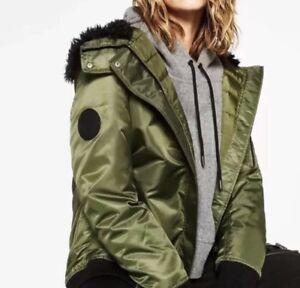 NWT $129 ZARA Khaki Green Long Padded Hooded Bomber Jacket Coat 5071//241/_S M L