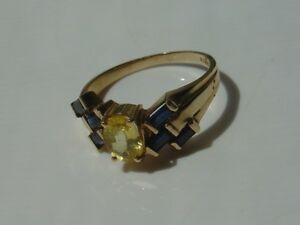 14K-Yellow-Gold-Ring-Citrine-Yellow-amp-Sapphire-Blue-Color-Stone-Insert-Size-8