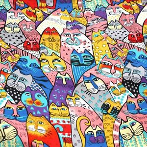 Multi-Coloured-Funky-Cat-Print-Square-Lady-Women-Shawl-100-Silk-Scarf-A4-01