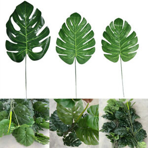 12-24pcs-Artificial-Tropical-Palm-Leaves-Plastic-Silk-Fake-Leaves-Home-Decor-US