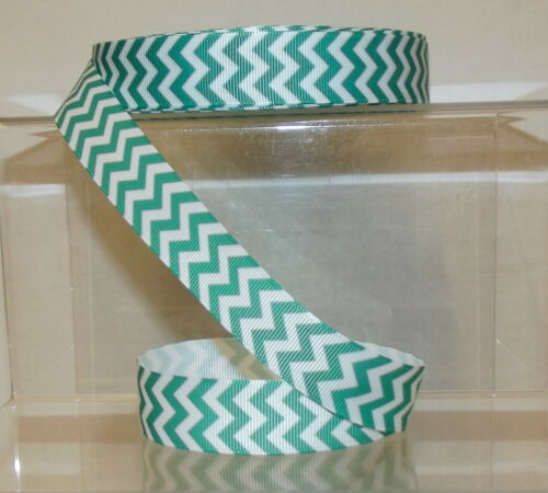 "Chevron Zig Zag Printed Grosgrain Ribbon 22mm 7//8/"" wide 1 2 5m Jade Green"