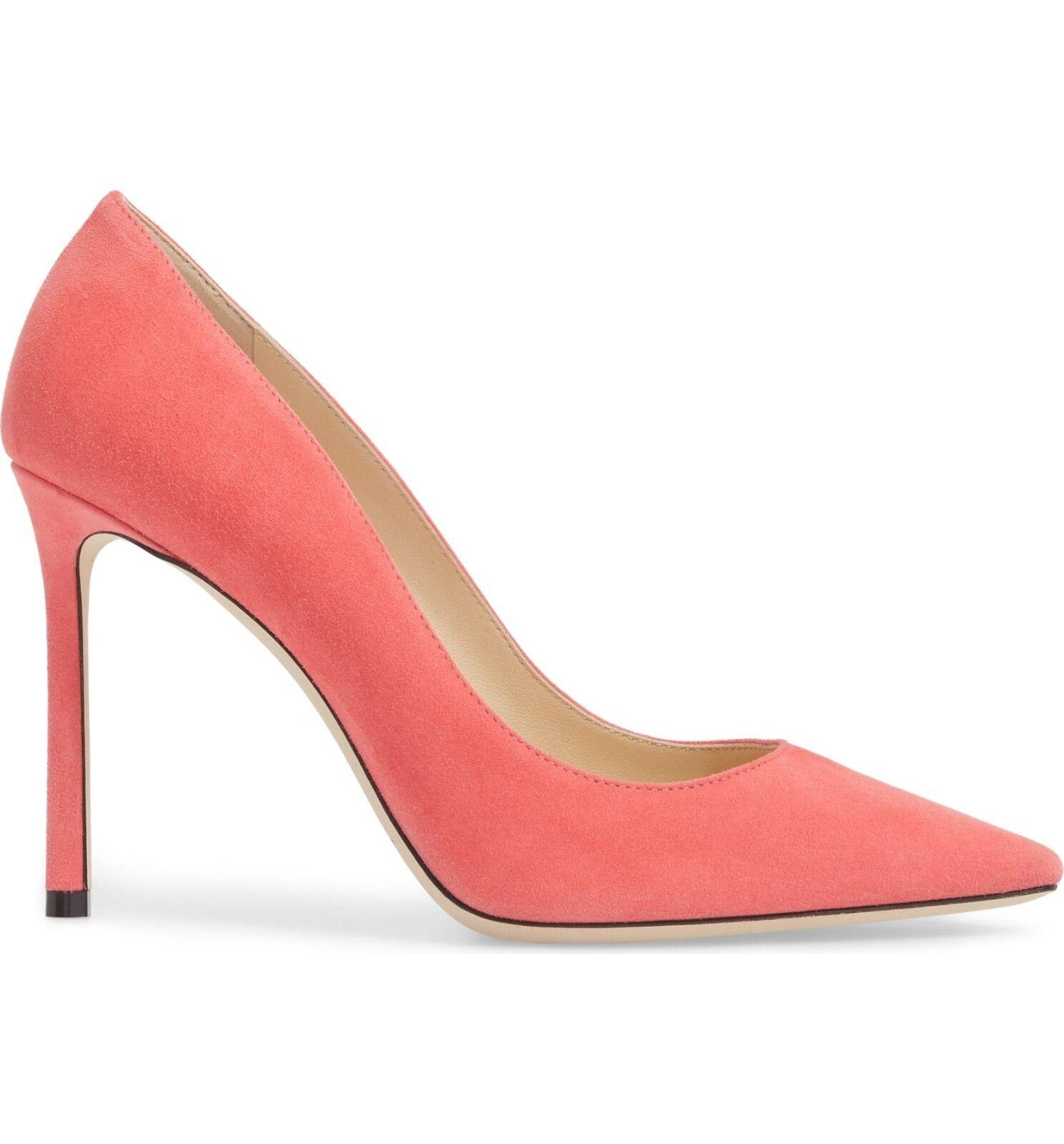 NIB Jimmy Choo ROMY Pointy Toe Pump Heel Heel Heel shoes FLAMINGO PINK Suede 38 -7.5 3d6ec4