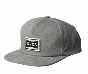 NEW RVCA Ticket Mid Fit Trucker Hat Light Grey Black Snap Back Cap Snapback