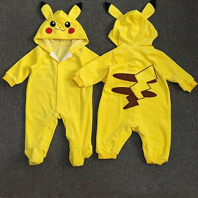 Toddler Boy Girl Hot One-pieces Long Sleeve Pikachu Outfit Jumpsuit Rompers 1Pc
