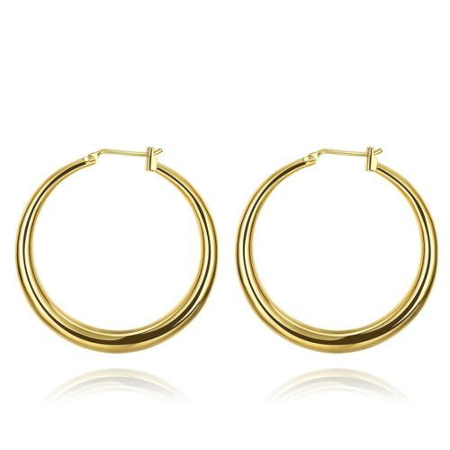 14K Yellow Gold Plated 2mm Thickness Classic High Polished Hinged Hoop Earrings