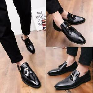 Men-039-s-British-Leather-Brogue-Shoes-Formal-Business-Wedding-Oxfords-Pointed-Toe