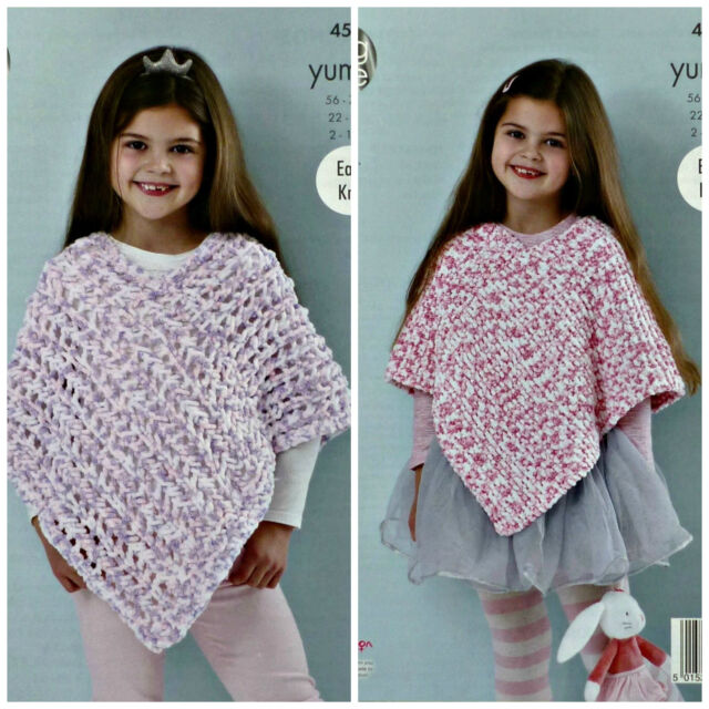 King Cole Yummy Knitting Pattern 4537 Easy Knit Ponchos Ebay