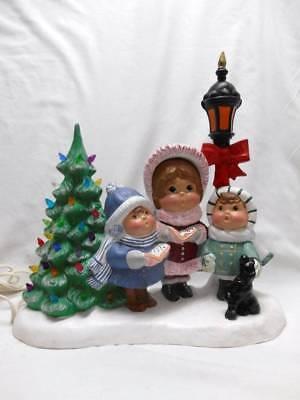 Vintage Ceramic Christmas Tree With 3 Carolers Dog Street Light