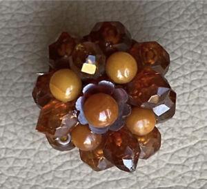 Ambar-Antiguo-Broche-Victoriano-Caramelo-miel-Facetado-Pin-joyas-antiguas