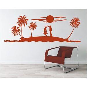 Landschaft-Wandtattoo-Meer-Palmen-tanzen-Paar-Insel-Sonne-Sticker-Wandaufkleber