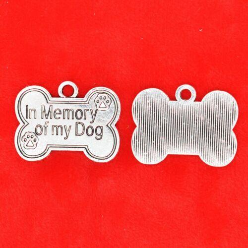 """5 x Tibétain Argent /""""En mémoire de mon chien/"""" signe chien Paw Charms Pendentifs"""