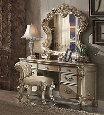 3PCS Vendome Bedroom Vanity Set In Baroque Gold Patina
