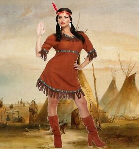 Pocahontas Costume Womens Ladies Red Indian Squaw Western Fancy Dress Outfit