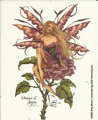 """AMY BROWN FAIRY FAERY STICKER DECAL """"WHISPERS OF SPRING"""" FROM 2005"""