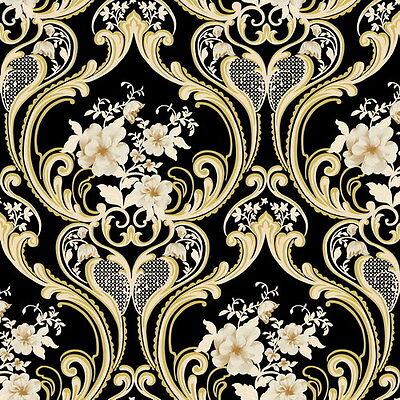 Vinyl Tapete Barock Retro # schwarz/gold/weiß # Fujia Decoration # 68625