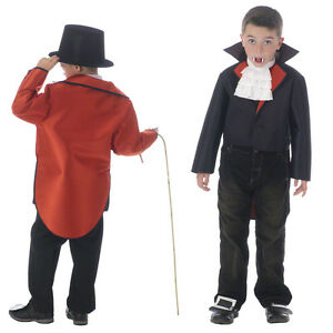 Childrens-Black-Red-Reversible-Jacket-Tailcoat-Circus-Ring-Master-Fancy-Dress