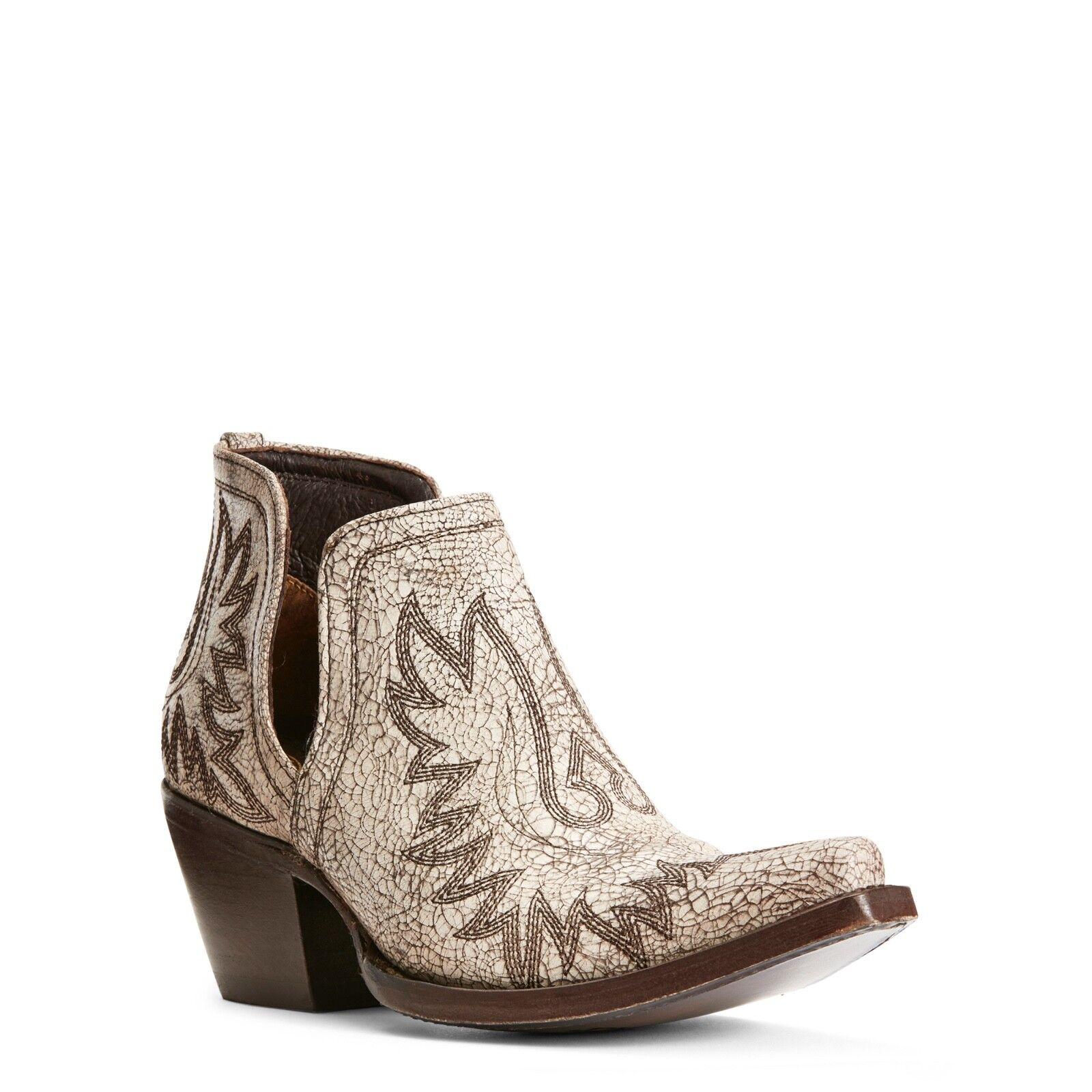 Ariat® Ladies Dixon whiteo White Western Ankle Boots 10027284